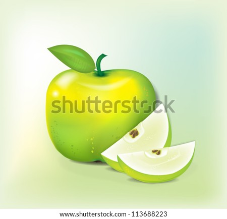 Green apple with slices