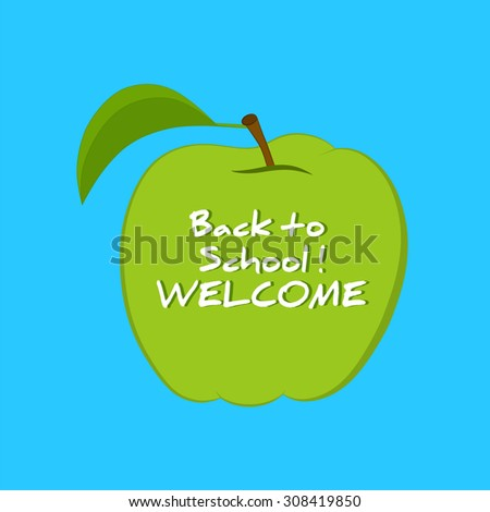 Green Apple with the Inscription Back to School.