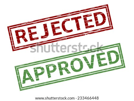 Green approved and red rejected stamps. Vector illustration. - stock vector