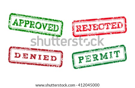 Green approved, permit logo stamp and red rejected, denied logo stamp. grunge style on white background. vector illustration.  - stock vector
