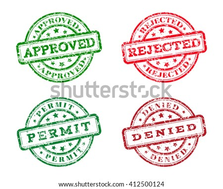 Green approved, permit logo stamp and red rejected, denied logo stamp. grunge style on white background. vector illustration. template for web design. infographics - stock vector