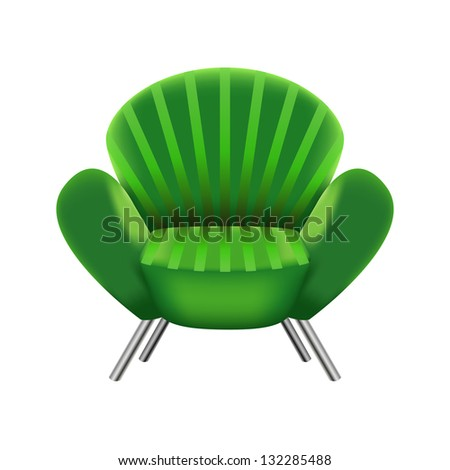 green armchair on white background - vector illustration - stock vector