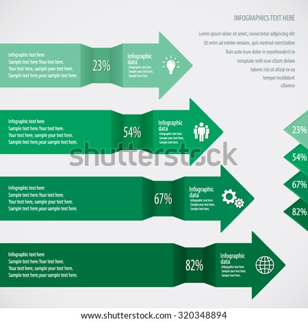 Green Arrow Infographic Background - Icons and arrows for 4 options. EPS10 vector. - stock vector