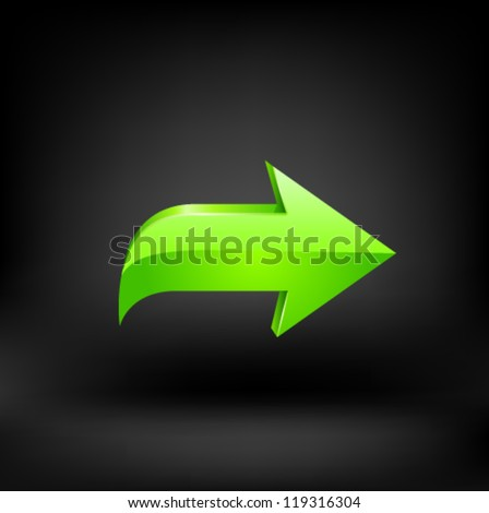Green arrow on black background. Vector - stock vector