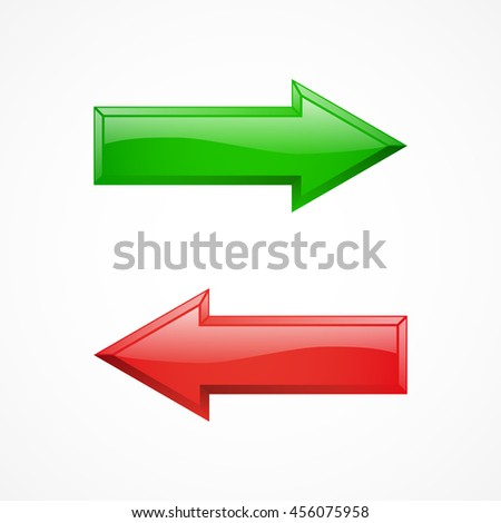 Green arrow, red arrow, shiny icon. Vector illustration isolated on white background. - stock vector
