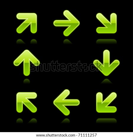 Green arrow sign web 2.0 button. Glossy shapes with color reflection on black - stock vector