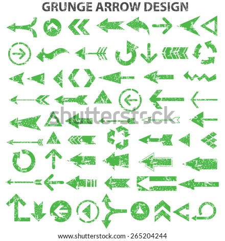 Green arrows, grunge arrows on white background, clean vector - stock vector