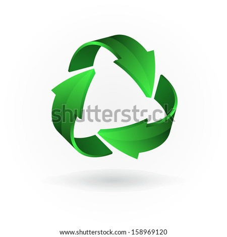 Green arrows. Recycling symbol isolated on white background - stock vector