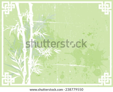 Green Asian bamboo design on textured background with knot frame and space for text - stock vector