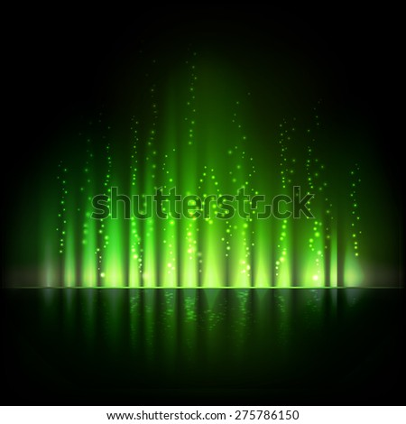 Green aurora light. Shiny Abstract vector background. - stock vector