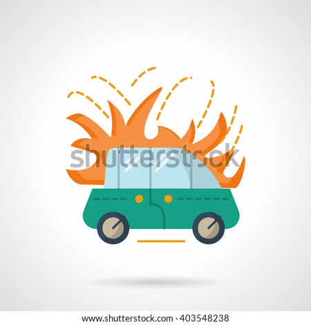 Green automobile in fire. Vehicles insurance accident. Car fire insurance. Flat color style vector icon. Web design element for site, mobile and business. - stock vector