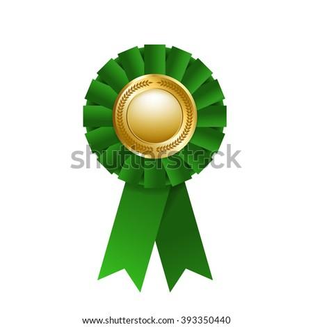 Green award rosette isolated on a white background. Award ribbon. Vector design element. EPS 10 - stock vector