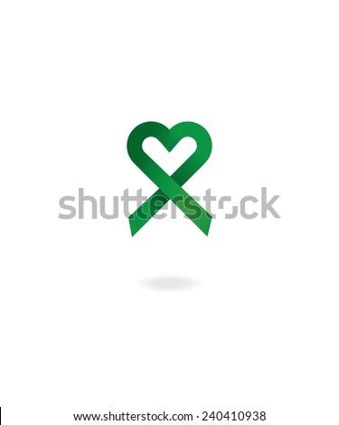 Green awareness ribbon - stock vector