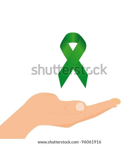 green awareness ribbon over hand isolated over white background. vector - stock vector
