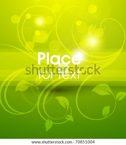 Green background. Abstract floral vector