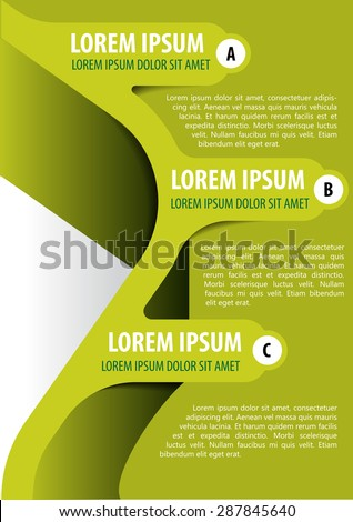 Green background for brochure, poster or flyer with three tabs ABC - stock vector