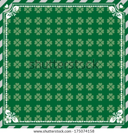Green background for St. Patrick's Day in Vintage frame. Vector Version  - stock vector