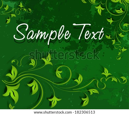 Green background in a grunge style. Vector illustration.