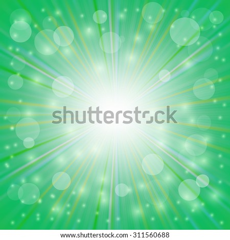 Green  Background. Sun Burst on Green Background. Ray Background with Stars. - stock vector