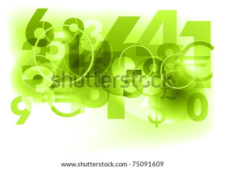 green background with abstract numbers - stock vector