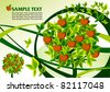 Green background with apple-tree - stock vector