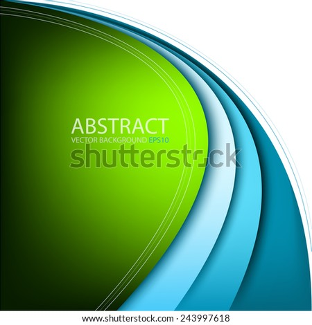 Green background with blue curve line on white background for text and message modern website design, vector - stock vector