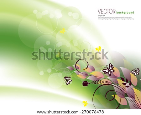 Green Background with Bright Leaves and Butterflies. - stock vector