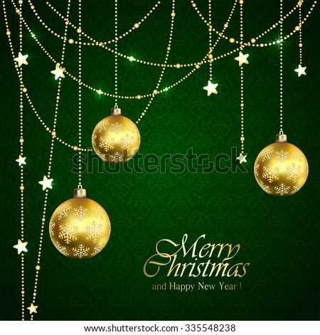 Green background with Christmas balls and golden stars, illustration.
