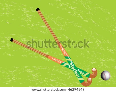 green background with cross hockey stick and ball - stock vector