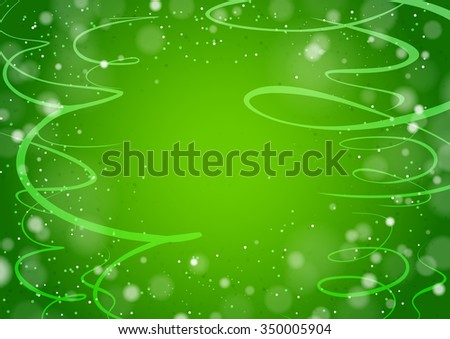 Green background with curls ribbons - stock vector