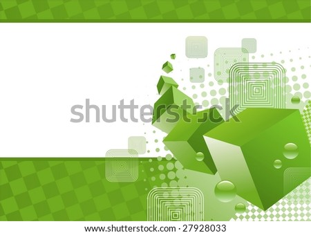 Green background with 3D cubes