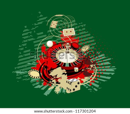 green background with dice and roulette from the casino - stock vector