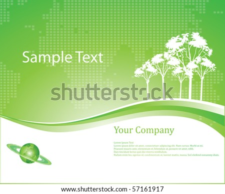 Green Background with  Earth Globe Vector