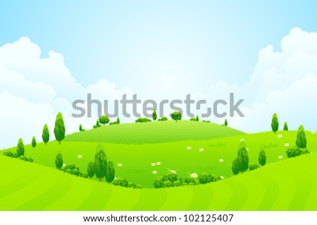 Green Background with Grass Clouds Trees Flowers and Hills