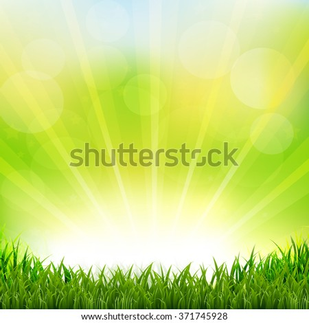 Green Background With Green Grass Border With Gradient Mesh, Vector Illustration - stock vector