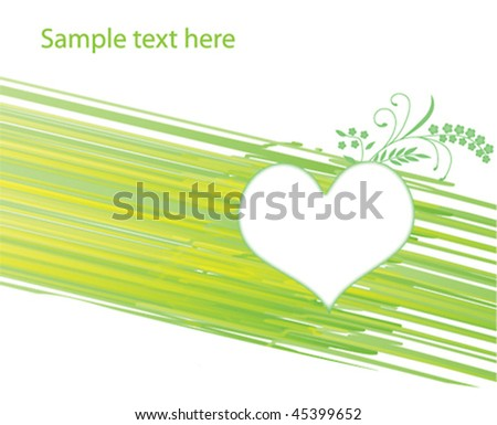 Green background with heart and floral element. Vector illustration.