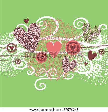 green background with hearts and swirls - stock vector