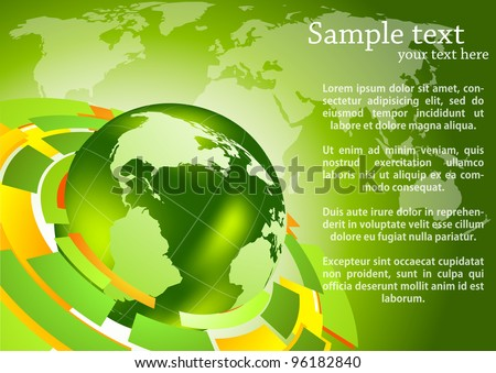 Green background with map and globe
