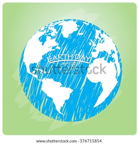 Green background with our planet with texture for Earth day
