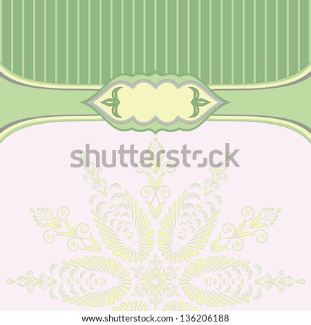 Green background with pattern and lines - stock vector