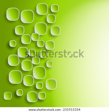 green background with rounded squares and shadows  - stock vector