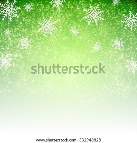 Green background with  snowflakes. Vector illustration for Christmas posters, icons, Christmas greeting cards, Christmas print and web projects. - stock vector