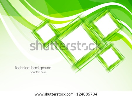 Green background with squares. Abstract illustration - stock vector
