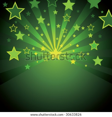 green background with stars - stock vector