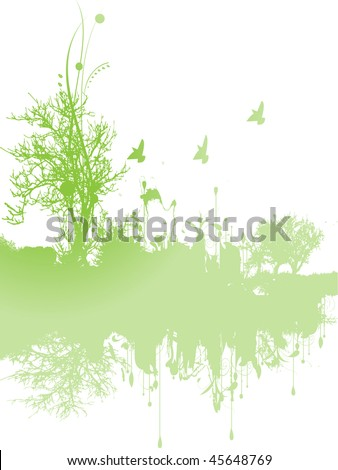 Green background with tree - stock vector