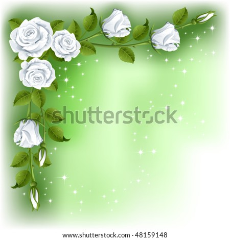 Green background with white roses