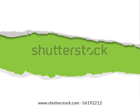 Green background with white torn paper edge and shadow - stock vector