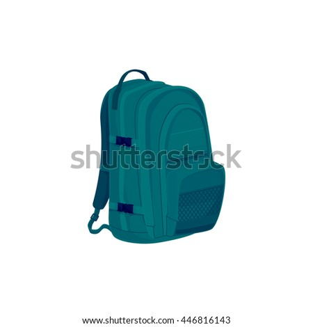 Green Backpack Isolated on White, a Luggage Bag for Traveling, Travel Bag, Vector Illustration
