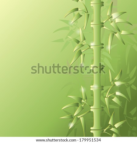 Green bamboo vector illustration. All objects are conveniently grouped on different layers and are easily editable - stock vector