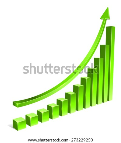 Green bar increasing graph with arrow vector template. - stock vector